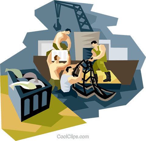 Commercial fishermen packaging catch Royalty Free Vector Clip Art illustration vc004605