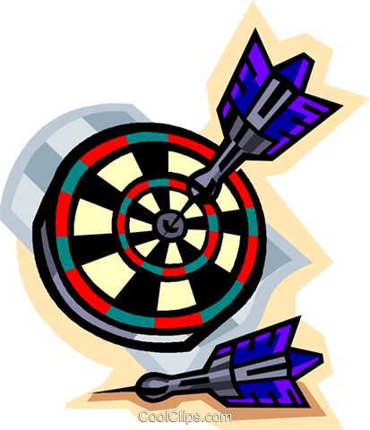 Darts in dartboard Royalty Free Vector Clip Art illustration vc004608