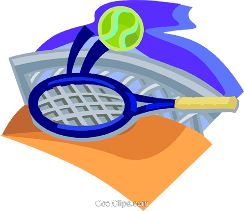 tennis net with racquet on ball Royalty Free Vector Clip Art illustration vc004609
