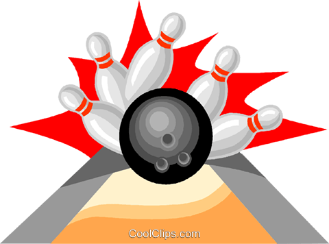 Bowling ball with pins Royalty Free Vector Clip Art illustration vc004610