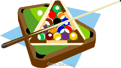 Billiard Table With Balls And Cue Royalty Free Vector Clip Art Illustration