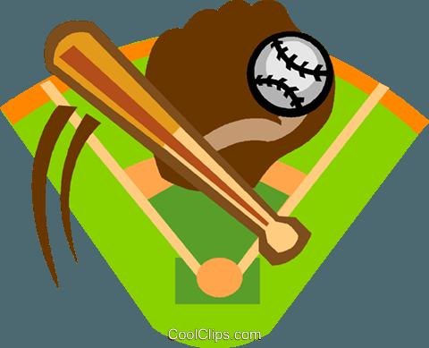 baseball diamond with bat, ball and glove Royalty Free ...