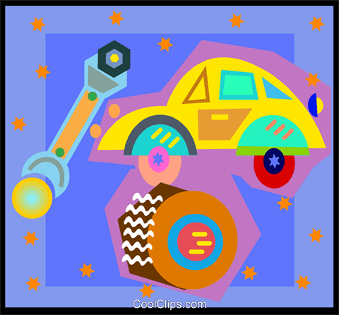 auto repair on decorative background Royalty Free Vector Clip Art illustration vc004681