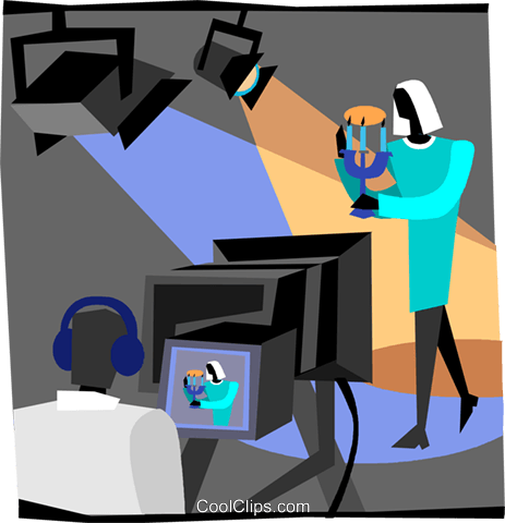 women selling product on television Royalty Free Vector Clip Art illustration vc004692