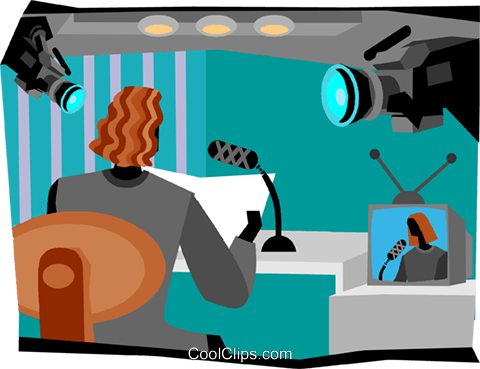 news broadcaster Royalty Free Vector Clip Art illustration vc004702