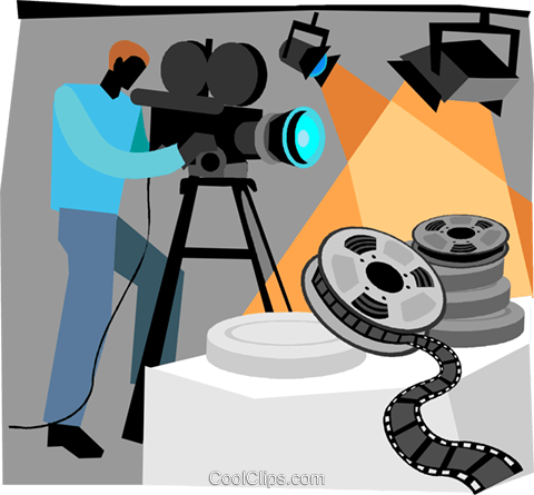 camera man filming movie Royalty Free Vector Clip Art illustration vc004705