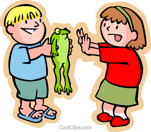 Boy with frog showing it to a little girl Royalty Free Vector Clip Art illustration vc004732