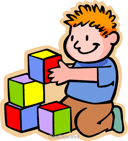 Boy With Colored Building Blocks Royalty Free Vector Clip Art Illustration