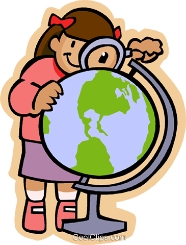 girl with a magnifying glass and a globe Royalty Free Vector Clip Art illustration vc004740