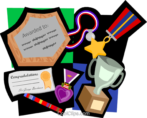 award motif, medals, plaque, trophy Royalty Free Vector Clip Art illustration vc004752