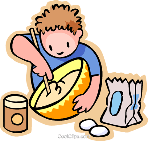 little boy missing flour in a bowl Royalty Free Vector Clip Art illustration vc004779