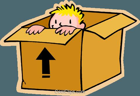 kleine Junge versteckt in einer Kiste Vektor Clipart Bild ...