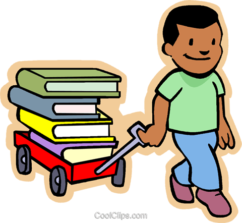 Little boy pulling a wagon load of books Royalty Free Vector Clip Art illustration vc004781