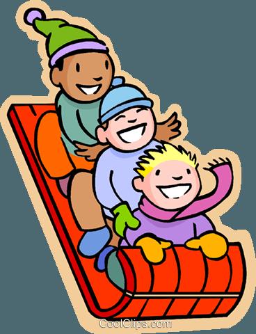 Kinder rodeln Vektor Clipart Bild -vc004784-CoolCLIPS.com