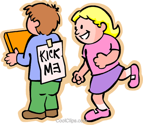 "little girl reading a ""kick me"" sign Royalty Free Vector Clip Art illustration vc004785"