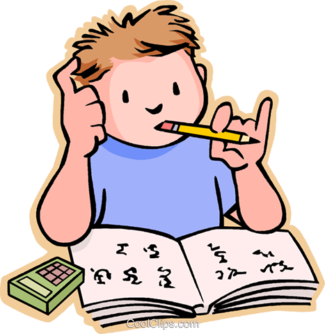 Boy doing his home work Royalty Free Vector Clip Art illustration vc004791