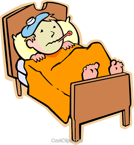 Boy sick in bed with the flu Royalty Free Vector Clip Art illustration vc004795