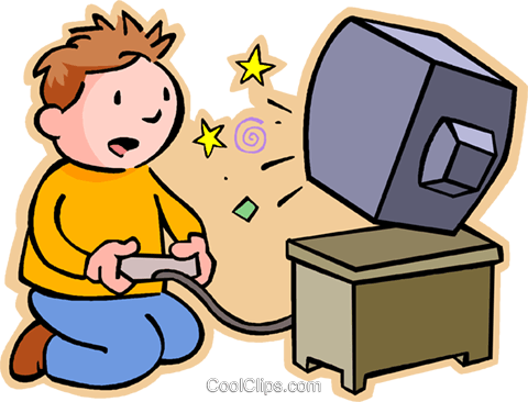 Boy playing video game Royalty Free Vector Clip Art illustration vc004797