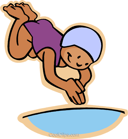 Little girl diving into pool royalty free vector clip art - Clipart piscine ...