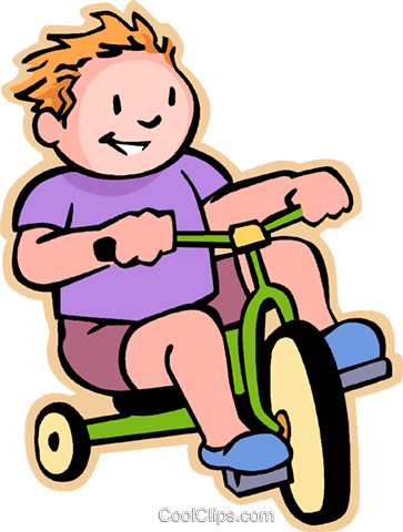 Little boy riding a tricycle Royalty Free Vector Clip Art illustration vc004812