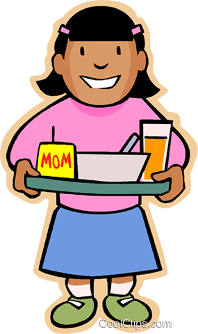 Little girl with lunch Royalty Free Vector Clip Art illustration vc004816