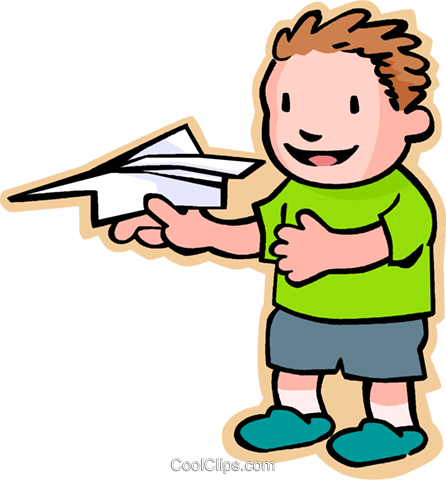 little boy with a paper plane Royalty Free Vector Clip Art illustration vc004817