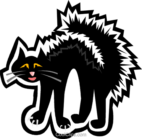black cat Royalty Free Vector Clip Art illustration vc004832