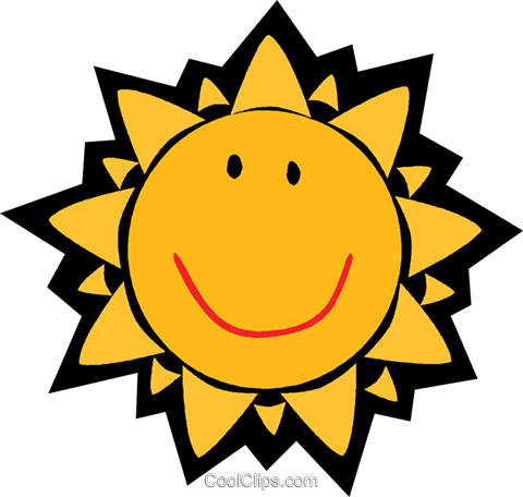 Smiling sun Royalty Free Vector Clip Art illustration vc004838