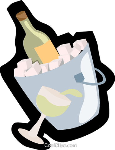 Champagne chilling on ice Royalty Free Vector Clip Art illustration vc004870
