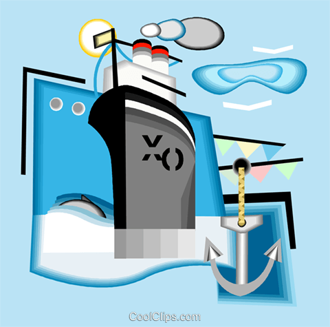 cruise ship Royalty Free Vector Clip Art illustration vc004996