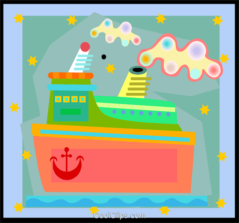 cruise ship in decorative background Royalty Free Vector Clip Art illustration vc005027
