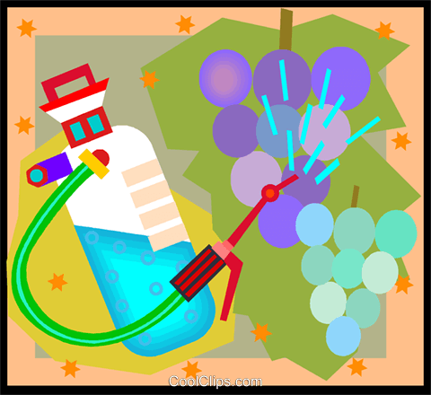 spraying grapes in decorative background Royalty Free Vector Clip Art illustration vc005032