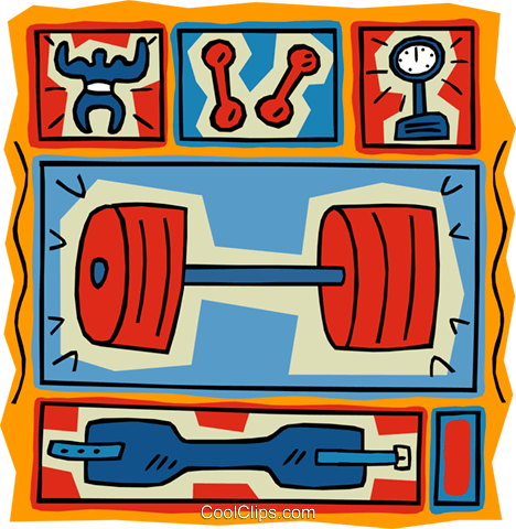 weight training dumbbells scale and belt Royalty Free Vector Clip Art illustration vc005137