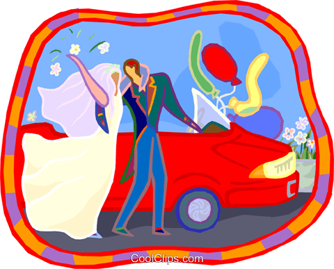 Newlyweds getting into car Royalty Free Vector Clip Art illustration vc005173