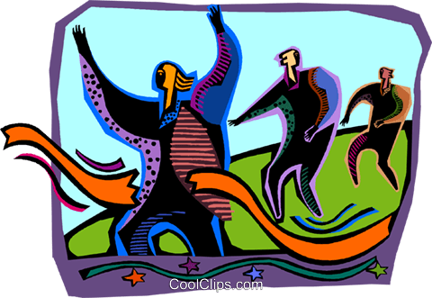 people running a race with a winner Royalty Free Vector Clip Art illustration vc005216