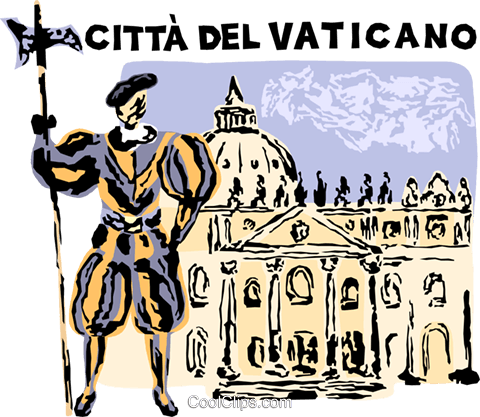 Vatican City, St. Peter's Square Basilica Royalty Free Vector Clip Art illustration vc005282