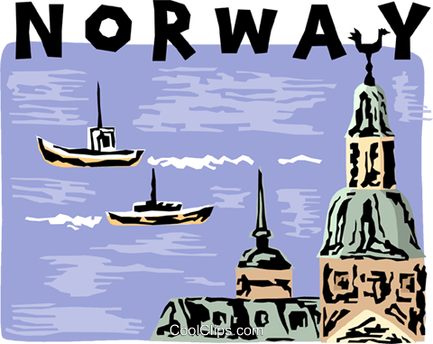 Norway harbor scene Royalty Free Vector Clip Art illustration vc005286
