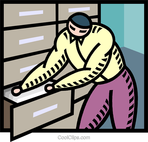 Person in filing cabinet Royalty Free Vector Clip Art illustration vc005289