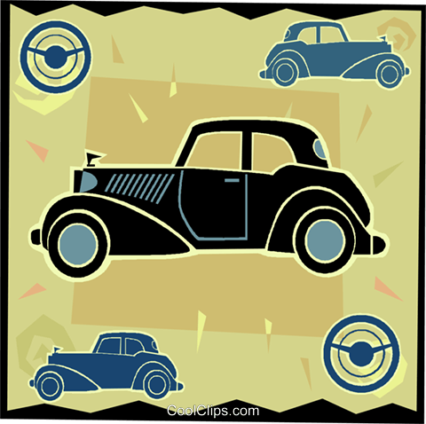 antique automobile, car Royalty Free Vector Clip Art illustration vc005350