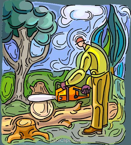 男子修剪与锯链日志 免版税矢量剪贴画插图