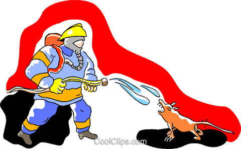 fireman hosing down an ugly animal Royalty Free Vector Clip Art illustration vc005402