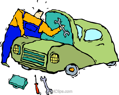 mechanic fixing a car Royalty Free Vector Clip Art illustration vc005449
