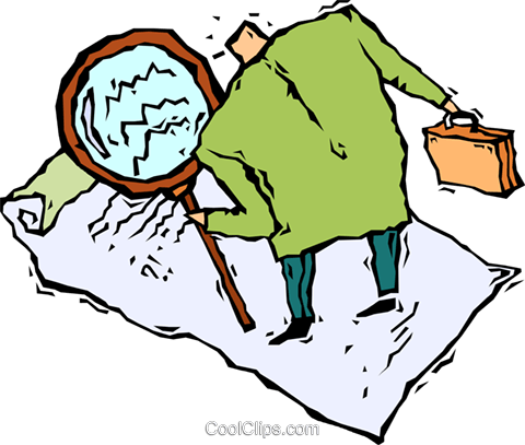 man with a magnifying glass Royalty Free Vector Clip Art illustration vc005474