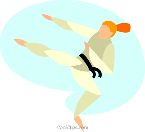 women performing flying side kick Royalty Free Vector Clip Art illustration vc005519