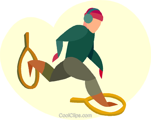 man snow shoeing Royalty Free Vector Clip Art illustration vc005533