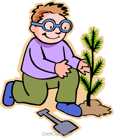 little boy planting a sapling Royalty Free Vector Clip Art illustration vc005539