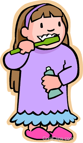 little girl with toothbrush, brushing tee Royalty Free ...