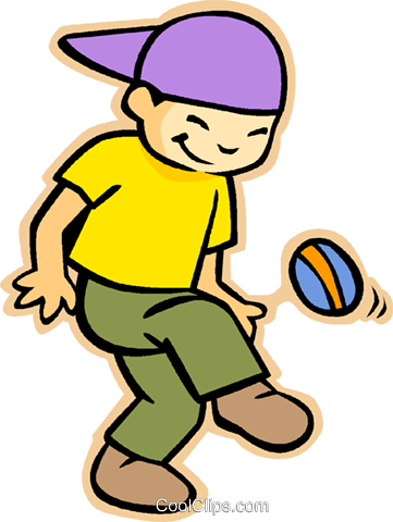 little boy playing with a ball Royalty Free Vector Clip Art illustration vc005548