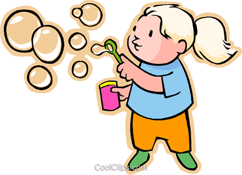 Little girl blowing bubbles Royalty Free Vector Clip Art illustration vc005550