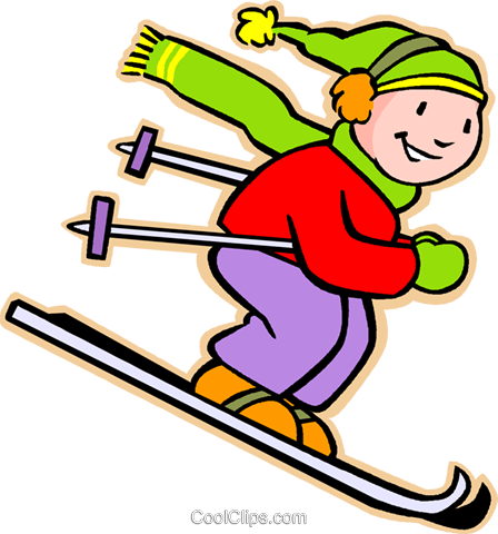 little boy skiing Royalty Free Vector Clip Art illustration vc005554